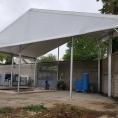 Toile PVC blanche et structure